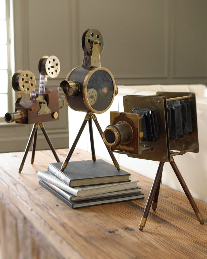 Horchow Vintage Film Set - home decor / black & brown media or office room decorations / Replicas of antique projectors / vintage camera