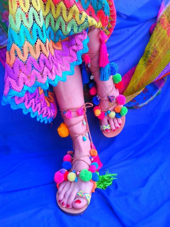 RiRiPoM sandali in pelle Tie Boho Chic Sandali sandali di