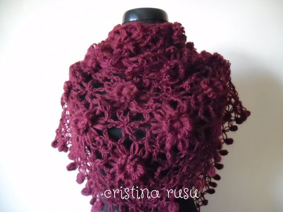Burgundy hand crochet lace shawl   Crochet by CrisColourCrochet