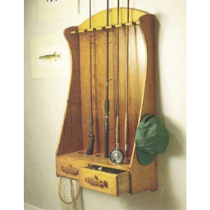 Not as big as our fishing rod cabinet this rack is a smaller but still wonderful project and a great way to keep your fishing gear safe.