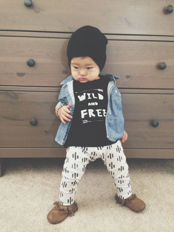 "Some cute stuff in this etsy shop. And if it turns out to be a girl, replace that beanie with a bow. ""YOUNG AND WILD tshirts gender neutral tees by ourlittlelullaby"""