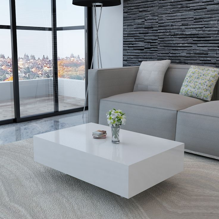 Hoogglans salontafel 85 cm (wit)