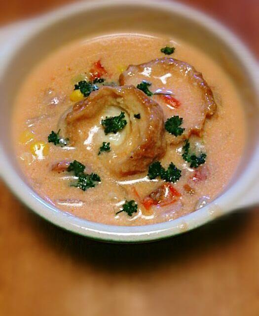 前日の鍋野菜の残りで簡単スープ! 仙台麩はフランスパンみたいで大好きです(*^^*) - 106件のもぐもぐ - 鍋野菜と仙台麩のトマトクリームスープ by tomtom-verde