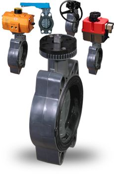FE Series PVC butterfly valves are rubber lined (resilient seated) with wafer flange connections. They can be manually operated with a lever or geared hand wheel, or automated with an electric or pneumatic actuator.