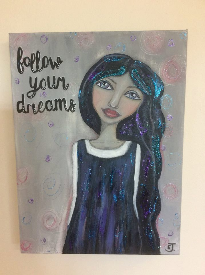 Whimsical girl painting Follow Your Dreams mixed media art of girl with long black hair, lots of glitter pencil and acrylic by HomeofWhimsy on Etsy