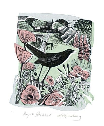 ✿ August Blackbird Lithograph by Angela Harding ✿