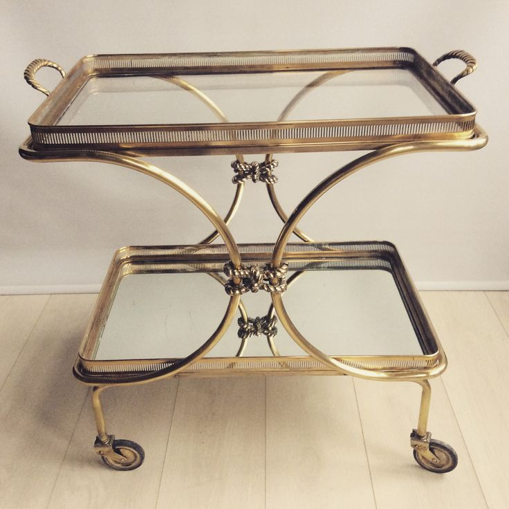 Vintage French Brass Rope Drinks Trolley Bar Cart