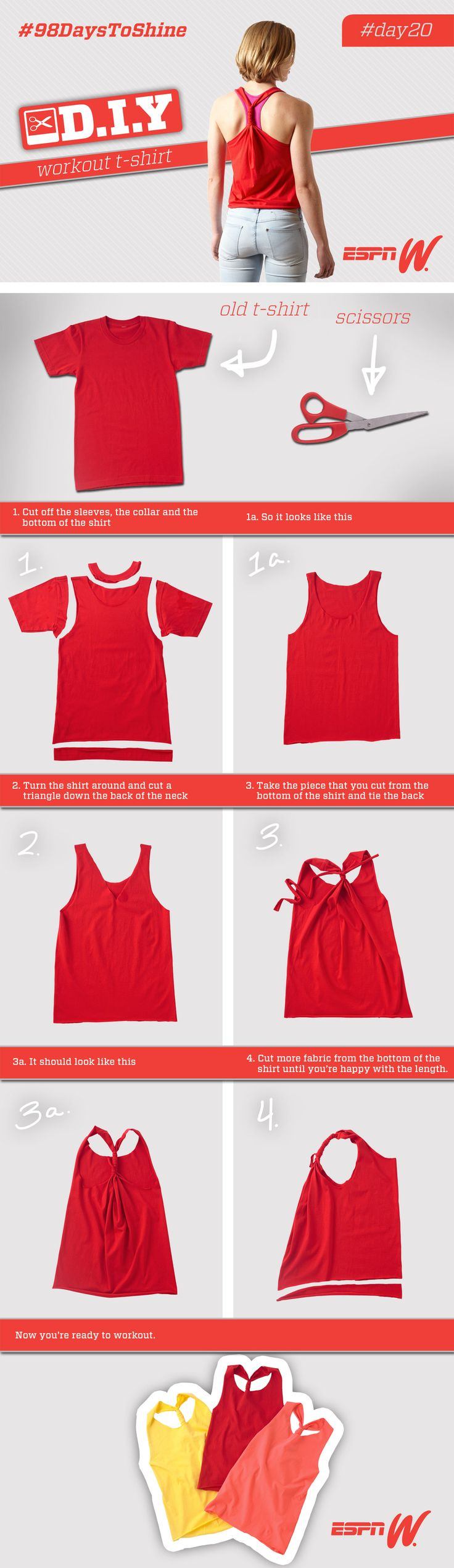 learn how to turn an old t shirt into the perfect workout top visit - T Shirt Cutting Designs Ideas