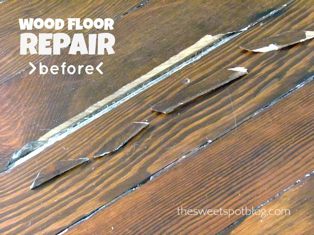 How to Repair a Wood Floor http://thesweetspotblog.com/wood-floor-repair-how-to/ #diy #repair #wood #floor #decor