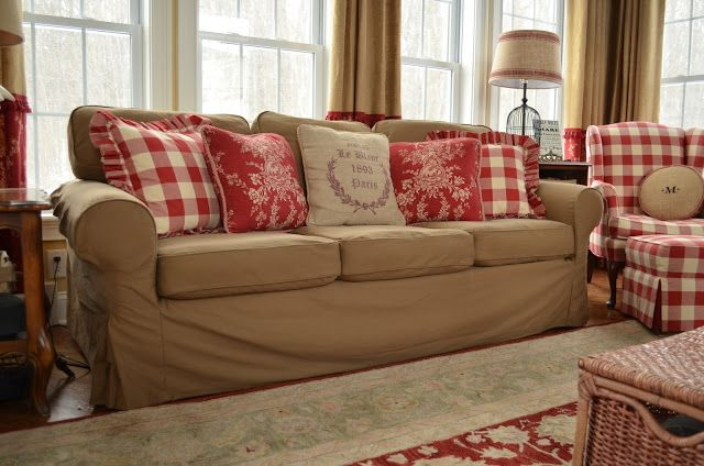 Savvy Southern Style: The Top Four  (Love the look of this sofa coupled with the red buffalo check)
