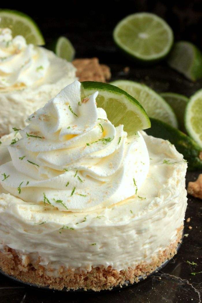 Mini No Bake Key Lime Pie Cheesecakes – easy little no bake cheesecakes with a graham cracker and lime zest crust that's been filled with a tasty key lime cheesecake filling and topped with homemade whipped cream. One of the only good things my high-school boyfriend did for me was make me fall in love with key...