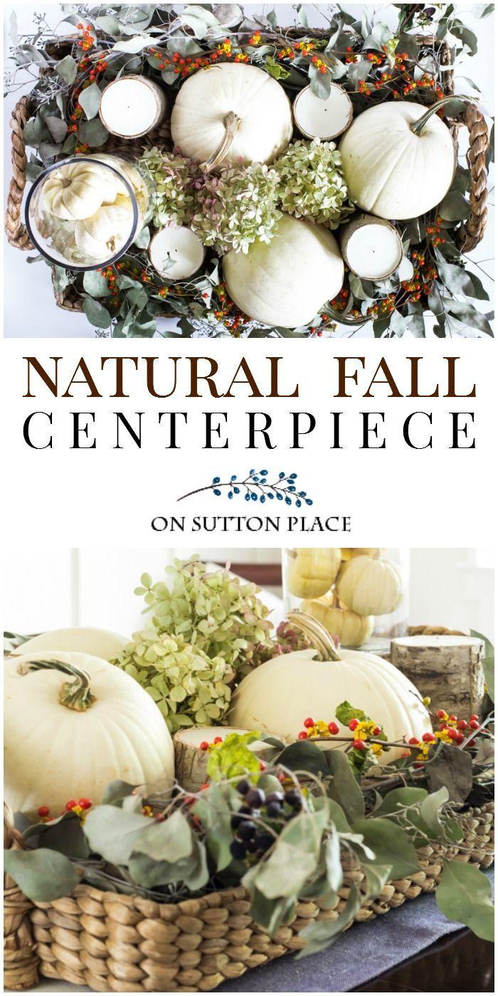 Natural fall centerpiece thanksgiving centerpieces step