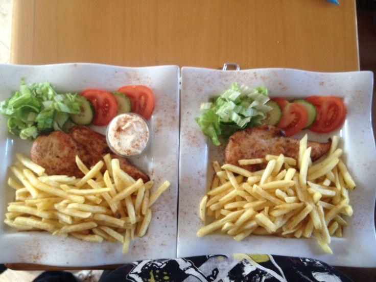 BBQ chicken steak and chips