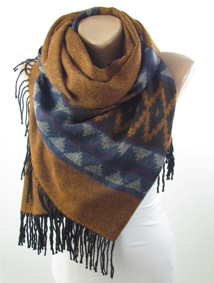 Blanket Scarf Oversize Tribal Scarf Winter Brown Scarf Shawl Men Scarf Women Fashion Accessorries Holiday Fashion Christmas Gifts For Him