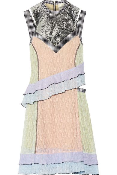 SANDY LIANG Impala sequin-embellished gingham-trimmed lace dress. #sandyliang #cloth #dresses