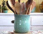 Kitchen Utensil Holder - Large Size - Aqua Mist - Hand Thrown Vase - Modern Home Decor - MADE TO ORDER