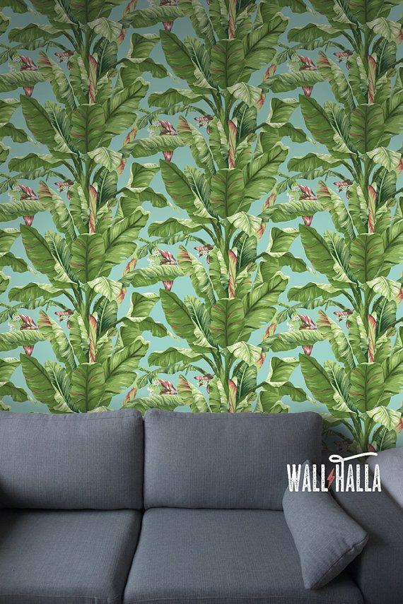 Seamless Self Adhesive Banana Tree Leaf Pattern Wallpaper