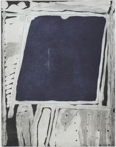 Richard Diebenkorn, Center Square, 1985, Aquatint, soapground, drypoint, and à la poupée on watermarked BFK Rives Heavyweight white paper with deckled edges at top and bottom and torn edges at left and right Image: 10.5 x 8 in (26.67 x 20.32 cm) Sheet: 26 x 20 in (66.04 x 50.8 cm)