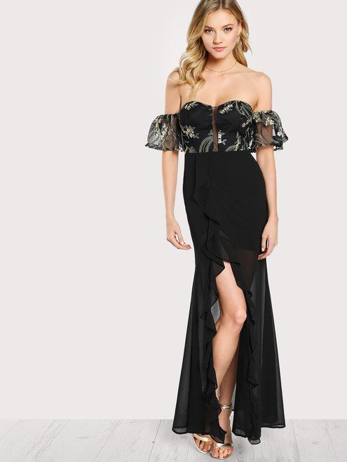 9f0fce03a5a0 Bardot Sleeve Floral Embroidered Sheer Overlay Dress BLACK MULTI ...