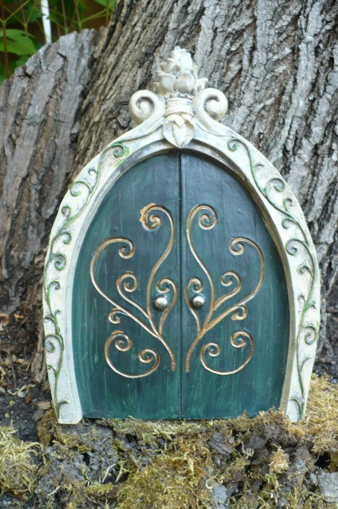 Tall Green Door for Gnome or Fairy Village
