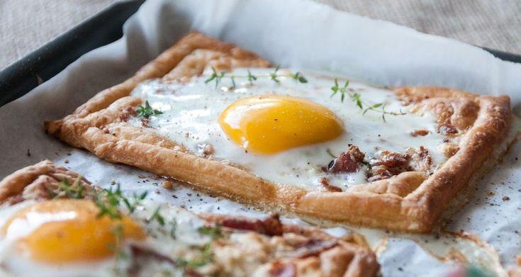Ατομικές τάρτες με αυγό και μπέικον