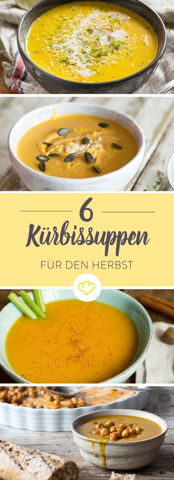 Wenn Kürbis Saison hat, heißt es: An die Suppenschüssel, fertig, löffeln! Mit diesen 6 Rezepten sorgst du für genügend Abwechslung im Suppentopf.