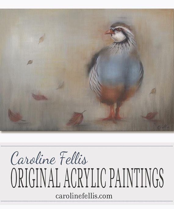 Original bird acrylic painting Partridge acrylic painting