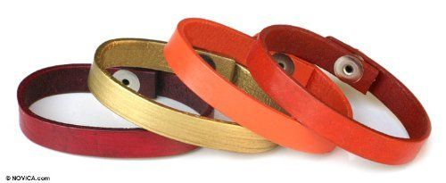 Leather bracelets, 'Hot Serpentines' (set of 4) NOVICA. $39.95. Handmade by Hariyono.. Normally ships directly from Bali & Java within 10 days.. A fair trade product. Save 51%!
