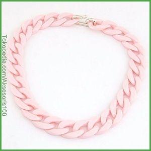 (Harga Jual) Kalung Korea Pink Candy Simple Chain KN33632 Murah