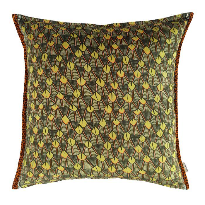 Ardmore 60x60cm cushion in River Chase Rivergreen Velvet. Double-sided print on velvet.  Cushion inner sold separately, available here.