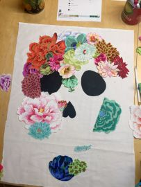 Instructions on how to make flower collage art wall quilt