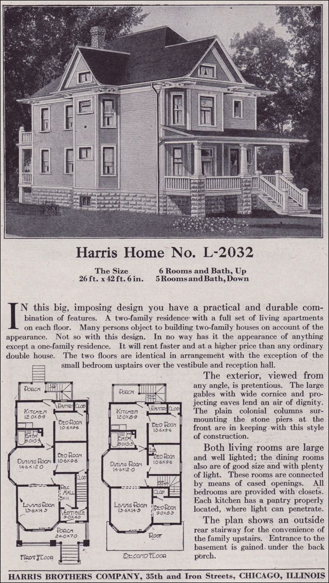 1918 Harris Bros Co Kit Home Catalog Plan L 2032