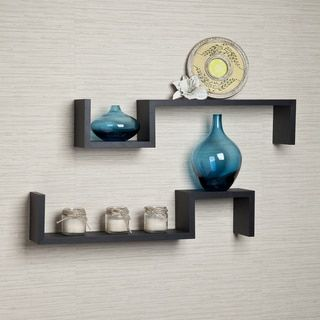 Laminated Espresso 'S' Wall Mount Shelves (Set of 2) | Overstock.com Shopping - The Best Deals on Accent Pieces