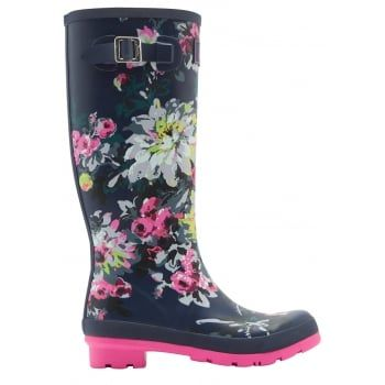 Joules - a British Lifestyle brand recognised by distinctive colours, prints, detail & quality encompassing values of heritage, countryside, Britishness, family and fun. From nautical stripes and detailed florals to scenes that sing of our country heritage. Wherever you're tackling the great British weather Joules new printed wellies will make sure you stand out from the crowd. http://www.marshallshoes.co.uk/womens-c2/joules-womens-wellyprint-tall-printed-french-navy-floral-boot-p3965