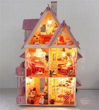 Кукольный домик с мебелью ручной деревянный дом diy подарки на день рождения 3D пазлы для взрослых и любителей дом мечты детей(China (Mainland))