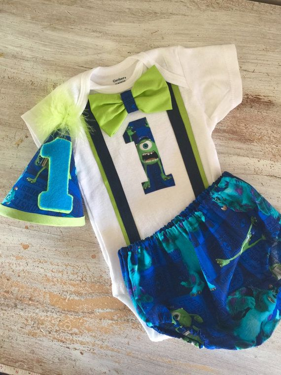 Disney Monsters Inc Cake Smash Outfit with Onesie Bow Tie and Party Hat And diaper cover Boys 1st Birthday First Birthday