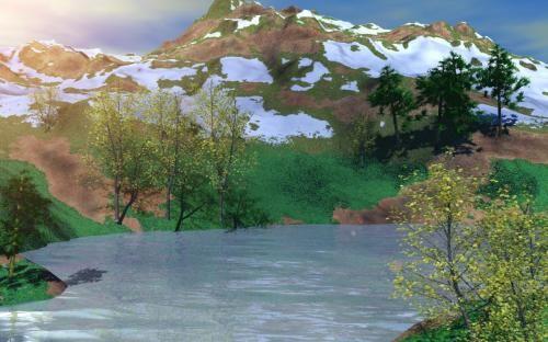 Paisaje con montañas y lago
