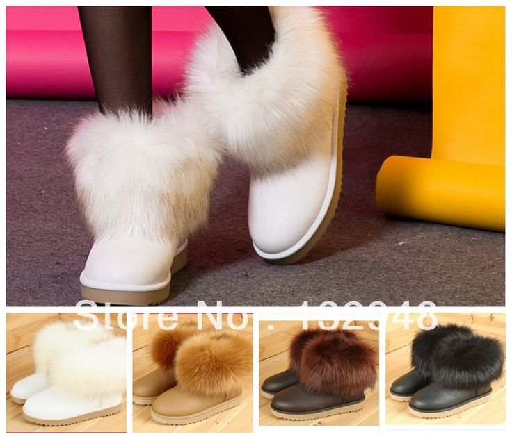 the white one is so cute~! 2013 Hot Free shipping winter short snow boots artificial fox rabbit fur shoes white black beige brown beige , size 35-40  $32.76