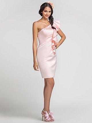 bainha / coluna de um ombro mini vestido curto / de cetim da dama de honra | LightInTheBox