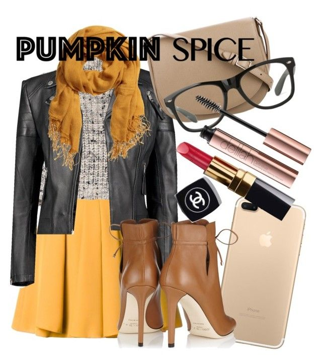 Pumpkin spice by natalka-safranekova on Polyvore featuring polyvore fashion style Brunello Cucinelli Boohoo Guild Prime Jimmy Choo CÉLINE H&M Chanel clothing