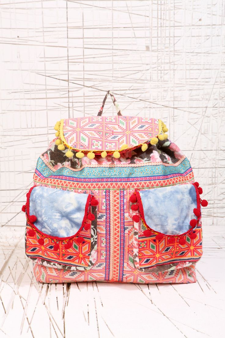 Pom Pom Ethnic Backpack at Urban Outfitters