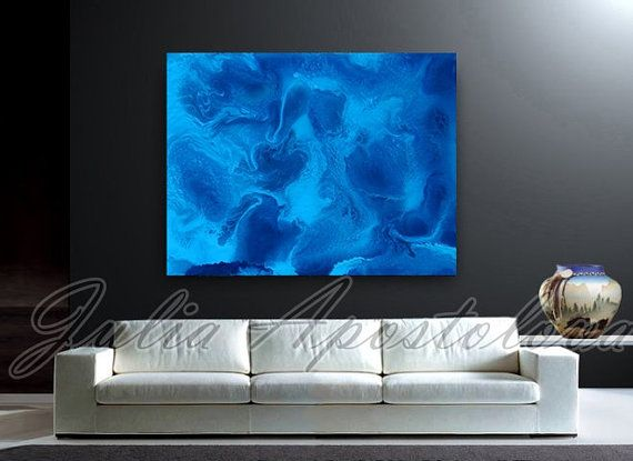 40''Ocean Painting, Blue Abstract Art, Blue Painting, Turquoise Canvas Print, Water Painting, Sea, Aqua, Modern, Waves, Julia Apostolova by juliaapostolova. Explore more products on http://juliaapostolova.etsy.com