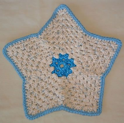 Knitted Dishcloth Pattern With Star : Star Dishcloth potholders, dishcloths, coasters Pinterest