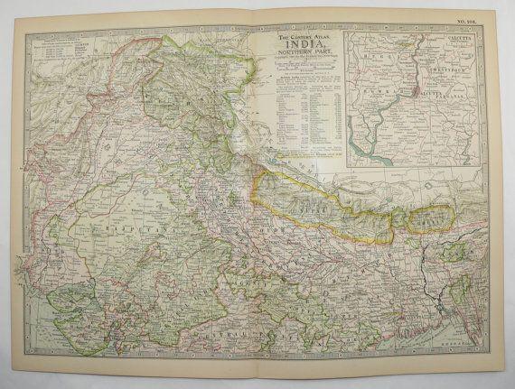 Northern India Map Nepal Kashmir Map 1899 Vintage Travel Map, Antique Art Map to Frame by OldMapsandPrints on Etsy