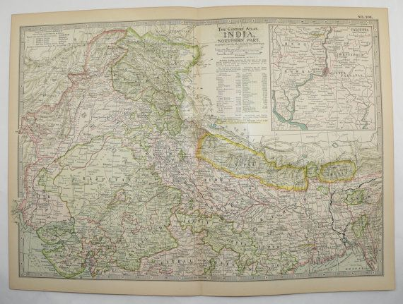 Northern India Map Nepal Kashmir Map 1899 Vintage Travel Map, Antique Art Map to Frame by OldMapsandPrints on Etsy