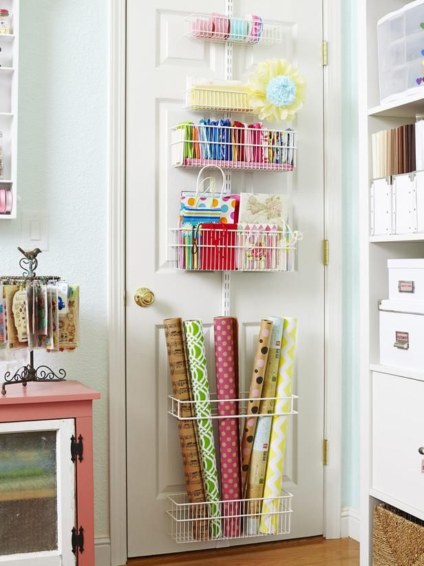 Genius idea! Create a wrapping center for paper, bags, and ribbon in this over-the-door organizer. #hgtvmagazine http://www.hgtv.com/decorating-basics/12-amazing-craft-rooms-ideas/pictures/page-10.html?soc=pinterest: Amazing Crafts, Organizations Ideas, Crafts Rooms, Rooms Ideas, Gifts Wraps, Over The Doors, Wraps Paper, Storage Ideas, Rooms Organizations