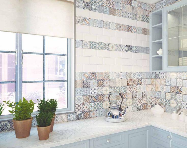 Antique sky tiles patterned tiles for the kitchen - Carrelage mural cuisine mosaique ...