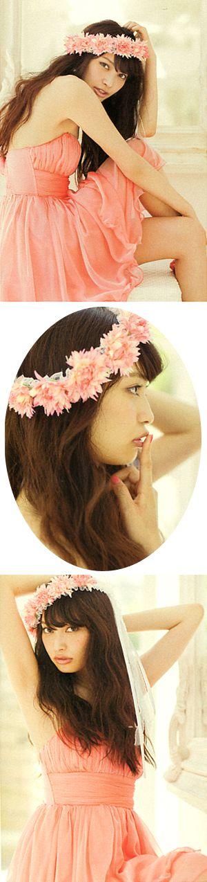 "Model / Aya Omasa. Japanese girls fashion magazine ""non-no"".   girlish & cute style. Coral pink dress."