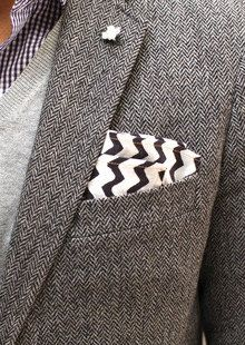 CHEVRON POCKET SQUARE Set of Six 10 x 10 Modern by MyModernHome, Black and white, groom, groomsmen