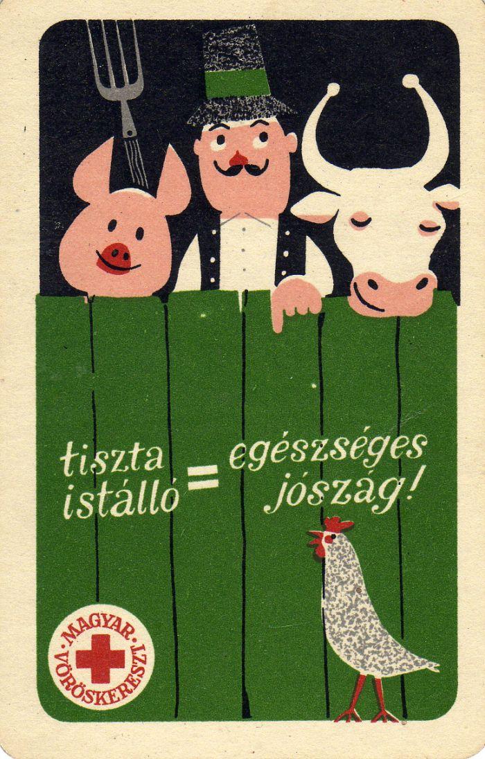 Magyar Vöröskereszt (tiszta istálló, egészséges jószág) – 1964 | Kártyanaptárak